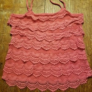 Umgee Womens Size M Coral Peach Crochet Lace Cami